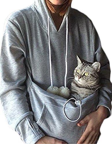 Rolansica Frauen Pullover Hoodie Sweatshirt mit Tasche Kangaroo Hoodie Carrier für kleine Katze Hunde Grau XL