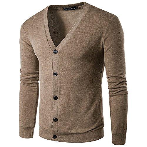 MRULIC Herren Herbst Winter Button V-Ausschnitt Langarm Strickpullover Mantel Strickjacke Cardigan RH-051