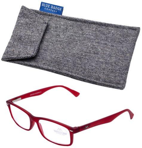 Blue Badge Force Plus 3 Rouge Cadre Montana Lunettes de lecture avec étui rembourré en tweed prêt à porter