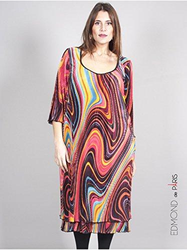 Vêtement Femme Grande Taille Robe Plissée Imprimé Corail Corail