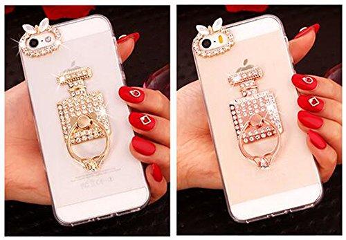 """Nnopbeclik [Coque Iphone 5S Silicone / Coque Iphone SE Transparente / Coque Iphone 5 Apple] Caméra avec Diamant """"3D Motif Style"""" Bijoux de Bande Briller avec Bague Doux Transparente Backcover Housse p parfumor"""
