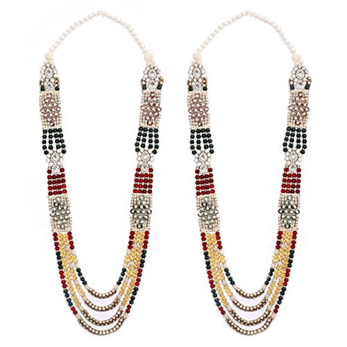 Anks Handicrafted Multi-Color Pearls & Stones Metal Varmala Jaimala for Unisex (Set of 2) VM-008