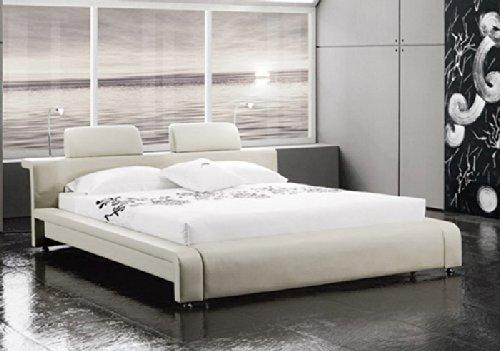 XXS® Classico Polsterbett in edlem weiß mit LED-Beleuchtung, Bett mit zwei gepolsterten Kopfstützen, pflegeleichte Oberfläche, stilvolle chrom-farbene Füße, 140 x 200 cm