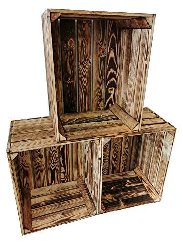 Teramico Holzkiste 50 x 40 x 30cm - Vintage-Look geflammt - Weinkiste Obstkiste Set Dekoration (3er Set, Ohne Ablage)