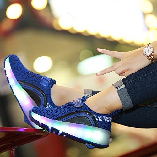 B·L·I Kinder Junge Mädchen Led Schuhe Sneaker Mit Rollen 7 Farbe Farbwechsel Wheels Skate Schuhe Blau