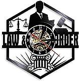 ClockHM Abogado de la balanza de la Justicia Oficina Decoración de la Sala Abogado Reloj de Pared Abogado Disco de Vinilo Reloj de Pared Orden de la Ley Pase la Barra Regalo-sin_Led