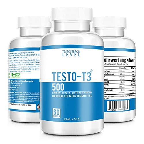 TESTO-T3 500 - TESTOSTERON BOOSTER - Extrem Hochdosiert - Testo-T3 KUR mit hochwirksamen Wirkstoffen - Beliebt im Bodybuilding, Gym und Muskelaufbau - Motivation und Focus - 60 Kapseln