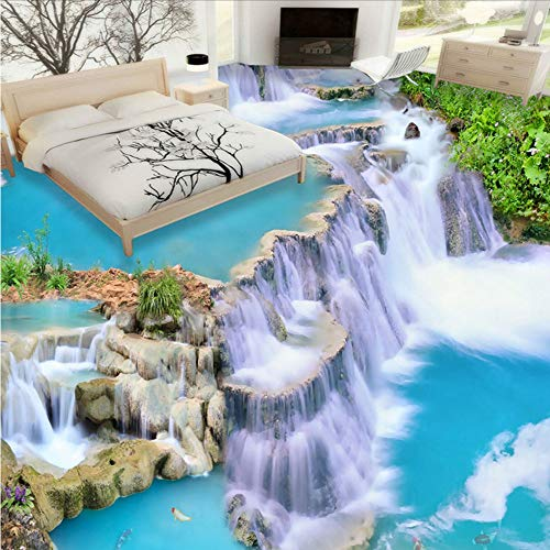 Mkkwp Cascada Corriente De Agua Murales En El Piso 3D Sala De Estar Cuarto De Baño Dormitorio Decoración Del Piso Pintura De Pvc Autoadhesivo Mural Wallpaper140Cmx100Cm