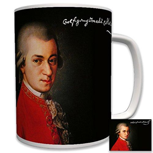 Wolfgang amadeus mozart-portrait toile signature compositeur de vienne sur l'histoire de la musique classique-tasse à café - 6530