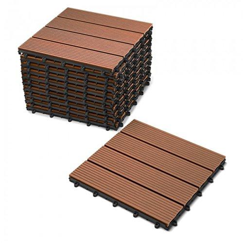 *SAM Terrassen-Fliese WPC Kunststoff, 11er Spar Set für 1m², Farbe Teak, Garten klick-Fliese, Bodenbelag mit Drainage*