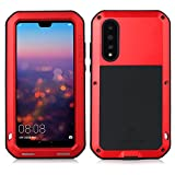 Huawei p20 pro Case, Eastcoo Armor Tank Hybrid Aluminum Metal Bumper Heavy Duty case with Gorilla Glass Screen protect Extreme Hybrid Shockproof Tough Silicone Case for Huawei p20 pro (Huawei P20 Pro, Red)