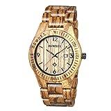 BEWELL Orologio Legno Uomo Orologi da Polso Analogico al Quarzo con Calendario Wood Watch (in Legno Caffè Zebrano)
