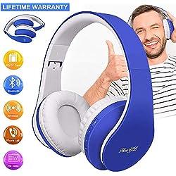 Casque Bluetooth sans Fil, Casque Audio Pliable, Écouteurs Stéréo Sport Suppression de Bruit, Casque Bluetooth Bandeau Pliable Pivotant, Compatible avec iPhone iPad PC Android iOS (Bleu)