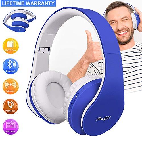 HooYL Kabelloser Faltbarer On-Ear Bluetooth Kopfhörer mit Integrierter Musiksteuerung und Mikrofon Freisprecheinrichtung Kompatibel mit Apple und Android Geräten (Blau)