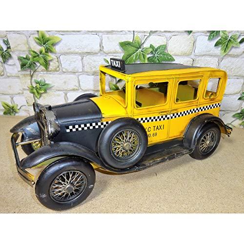 Gr Modell Auto Oldtimer New York City Taxi 32cm aus Blech NYC Yellow Cab Metall Reto Stil