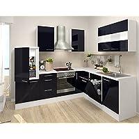 Respekta Küchenleerblock Premium L Küche 260 X 200 Cm Korpus Weiß Fronten  Schwarz Hochglanz