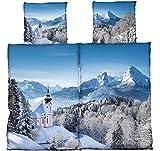 4tlg Warme Winter Bettwäsche Microfaser Thermo Flausch Fleece 2x 135 x 200 cm + 2x 80 cm x 80 cm NEU Winterlandschaft