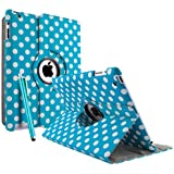 Joylive Apple iPad 3 iPad 3rd Generation & New iPad 4 4th Generation & iPad 2 360 Rotating Leather Stand Cover Case POLKA DOT With Magnetic Auto Sleep Wake, Including Screen Protector and Stylus Pen Blue