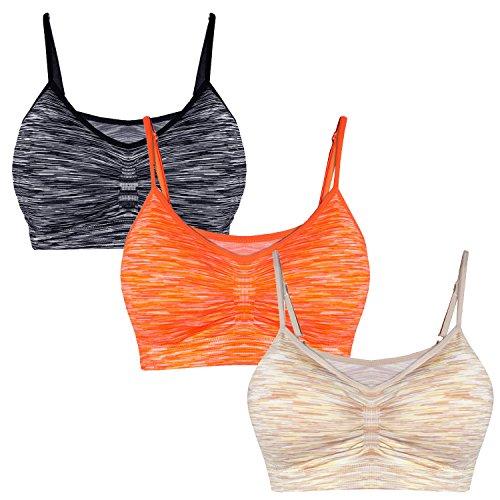 Libella Lot de 3 Soutien-Gorge de Sport Femme - Brassière - Bustier pour Fitness Yoga - Bra sans Armature sans Couture - 3718 Gris+Orange+Beige L/XL