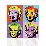 Declea Cuadro en lienzo Marilyn Monroe reproducción Andy Warhol - lienzo interior pintura del arte pop en lienzo listo para colgar a mano - Decoración moderna disponible en varios tamaños