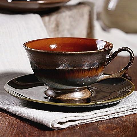 DZXYA Tasse à café peint à la main en céramique fleur-retro set créatif