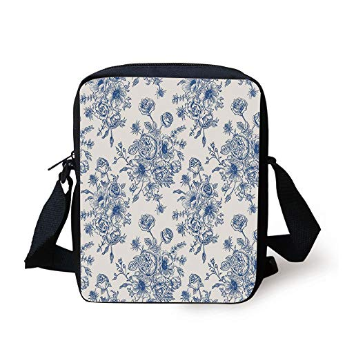 Anemone Flower,Floral Pattern with Bouquet of Blue Flowers Delicate Victorian Design Decorative,Night Blue White Print Kids Crossbody Messenger Bag Purse Floral Bouquet-box