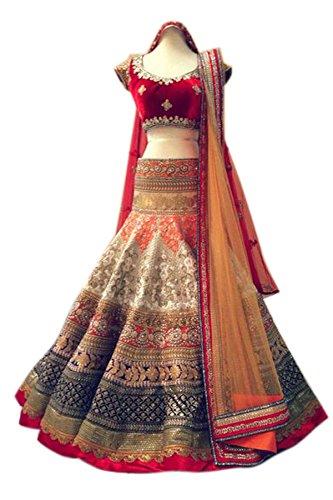 Vastra Fashion Women's Georgette Lehenga Choli (Vf01 Hetvi Chiku_Cream_Free Size)