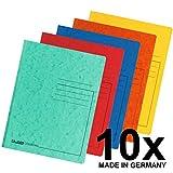Falken Premium Einschlagmappe aus extra starkem Colorspan-Karton mit 3 Innenklappen DIN A4 farbig sortiert 10er Pack Juris-Mappe Sammelmappe Dokumentenmappe ideal fürs Büro und die mobile Organisation