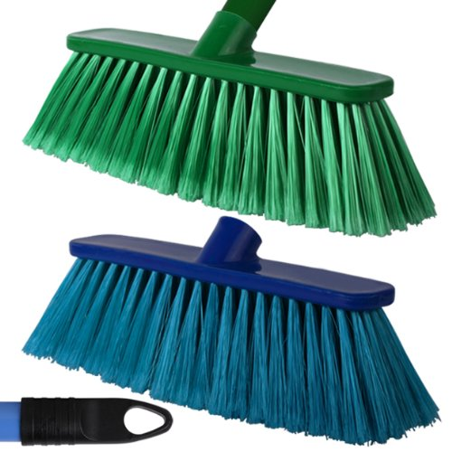 2-pack-of-28cm-blue-green-soft-deluxe-floor-sweeping-brush-brooms-with-120cm-handle-comes-with-tch-a