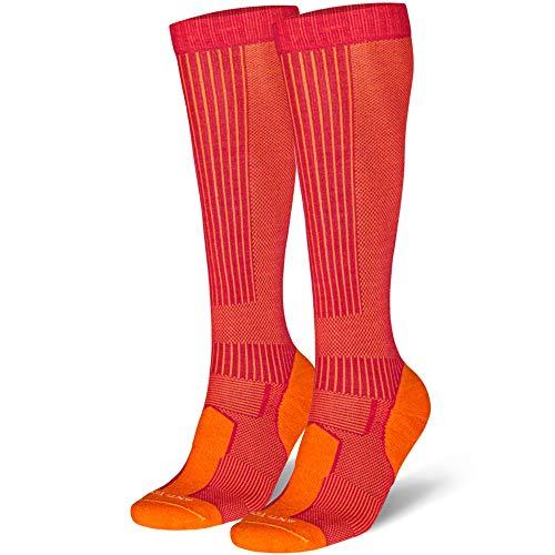 Danish endurance calze anti-zecca in lana merino (eu 35-38, fucsia/arancione - 1 paio)
