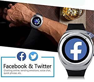 Mobilefit Bluetooth Smart Calling Watch Bluetooth dial-up/synchronized call logs/address book synchronization//sleep reminder/anti-lost ...(Silver) Compatible for Alcatel One Touch T10