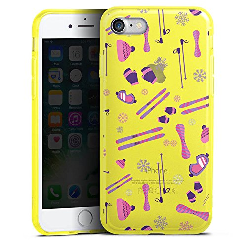 Apple iPhone 8 Silikon Hülle Case Schutzhülle Wintersport Ski ohne Hintergrund Silikon Colour Case gelb