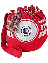 "NBA Los Angeles Clippers Women's Ripple Drawstring Bucket Bag, Light Red, 12"" X 14"" X 8.5"""