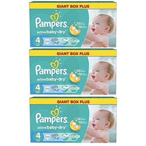 """Pampers Active Baby Dry Windeln Maxi """"4"""" Gr. 7-14 Kg Bis zu 424 Windeln (3 x 106 = 3 Karton = 318 Windeln)"""