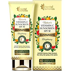 Oriental Botanics Nature's Vitamin C UVA/UVB Protection, Water Resistant Brightening Sunscreen SPF 50 with Natural Sun Blockers - No Silicone (100 Ml)