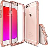 iPhone 6S Case,[Fusion] Crystal Clear PC Back TPU Bumper w/ Screen Protector [Drop Protection/Shock Absorption Technology] For Apple iPhone 6S / 6 - Rose Gold Metal