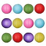 MYSWEETY Papierlaterne, 24 Stück Papier Lampions Schöne Hochzeit Deko Papierlampe rund Papier Laterne Lampenschirm Garten Party Dekoration Ballform - 6 Farbe (8 Zoll)