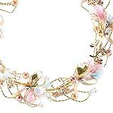 Zsxianshi copricapo corona di perle copricapo da sposa regolabile corona ghirlanda halo copricapo con fascia da polso floreale per feste di matrimonio
