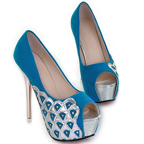 Cuckoo Peep Toe Strass Stiletto-Absatz-Plattform-Pumpen-Schuhe 13.5cm Heel Blau