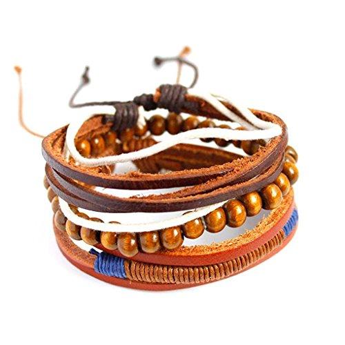 Luckiests Männer Frauen Mädchen Multi Schicht-Korn-Armband-Armband-PU-Leder-Mode-Armband-Ketten-Stulpe-Schmucksachen -