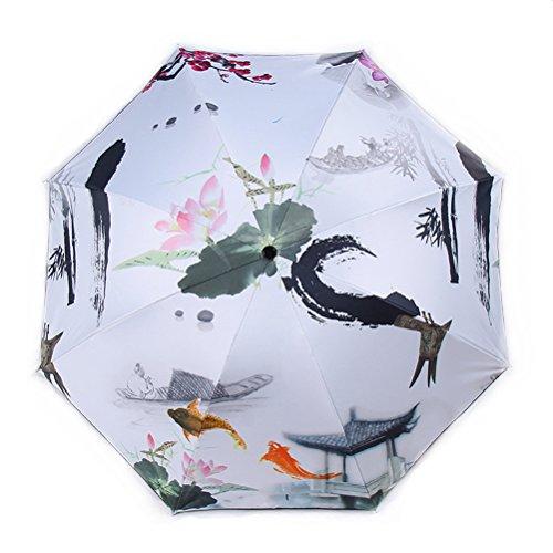 Ombrelle Protection UV Créatif Sun Proof Peinture à la Brosse Impression en 3D Parapluies pliants Coupe-Vent 8 os 190T Parasol De Plein air Cadeaux Parapluies pliants (A)