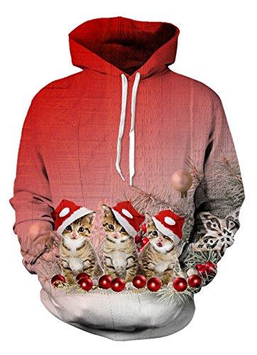 Uideazone Männer 3d Ptinted Weihnachtskatzen Crewneck Hoodie Nettes hässliches Weihnachten Sweatshirts Rot (Crewneck Tag Frei T-shirt)