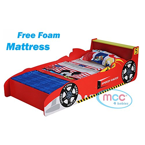 "MCC Cars Speed Junior, Toddler, Kids Bed with 4"" Luxury Foam Mattress Made in England"