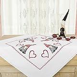 Kamaca Stickpackung LUSTIGER WICHTEL Kreuzstich vorgezeichnet Stickdecke und Stickgarn aus 100% Baumwolle zum Selbersticken (Mitteldecke 80x80 cm)