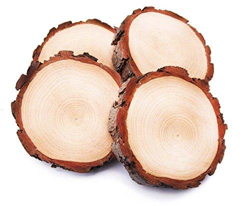 4 Stück Holz Runden natürliche ungeschliffenes Holz Scheiben Holzplatte für Weihnachten Tags, rustikale Hochzeit Herzstück, Holzofen (5.5-6.2 Inch)