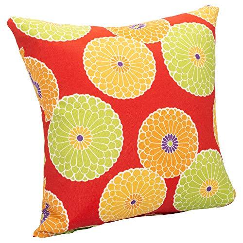 India House Brass Überwurfkissen, florales Muster, für drinnen und draußen, 16 x 16 cm 16 x 16 Citrus Floral Cherry Red - Messing House India