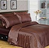 Goldstar Luxus 6 Stücke Satin Complete Bettdecke/Tagesdecke für Doppelbetten Bettwäsche set + Spannbetttuch, Einzelbett, für Doppelbetten, King Size, für Super King Size Betten, schokoladenbraun, Super King