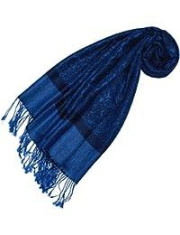 LORENZO CANA - Designer Pashmina Schal Schaltuch jacquard gewebt Paisley Muster 70 x 180 cm Tuch Naturfaser weich wie Kaschmir Blau 93287