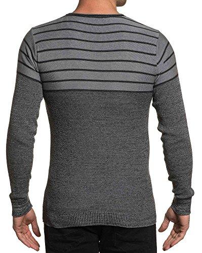 BLZ jeans - Pull homme stylé à rayures gris foncé Gris
