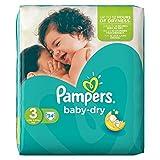 Pampers Baby-Dry - Lote de 4 paquetes de pañales de talla 3(mediana), para 4-9kg (34 unidades por paquete)